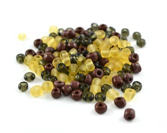 10 gr large yellow Browns 4mm glass seed beads / MPERRO008