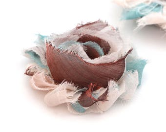Brown and blue fabric flower 6cm, sew or glue