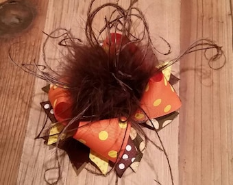 Over the Top Boutique Fall or Thanksgiving Bow, Orange, Brown, polka dots, ostrich maribou puff feathers
