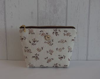 """Small pouch in linen and cotton, Brown """"YUWA"""""""