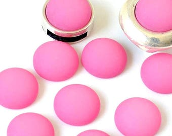 Cabochon resin - Matte color - circular (12mm) - pink