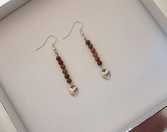 Pair of Bohemian earrings - khaki and silver