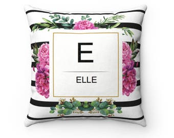 Personalized Floral Cushion With Your Name, Unique Gift For Her, Mother's Day Gift, Decorative And Customized Cushion Cover, Gift For Friend