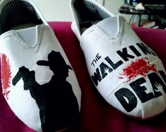 Walking Dead inspired Homemade Women's shoes Handpainted slip on TWD
