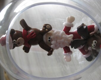 Large Christmas ball drop with characters in polymer clay