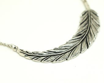 Short silver plated Feather chain necklace