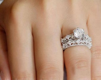 925 Sterling Silver Round Cut CZ Wedding Engagement Ring Women's Size 5-9 Ss753