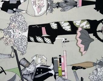 Fabric by Alexander Henry Ghastlie Family 30s GREY X50CM