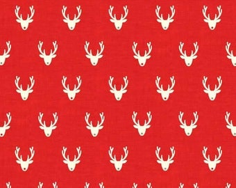 SCANDI fabric cotton patchwork SCANDI 3 Stags Neads red x1m