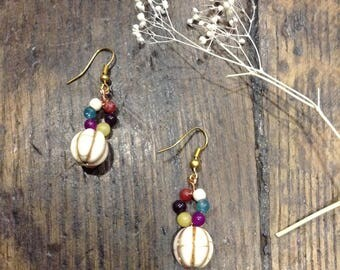 Earrings white stone and multicolored agates, Valentine's day gift