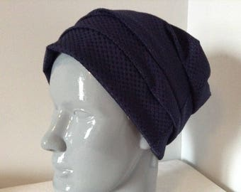 Blue jersey Beanie morning structured material