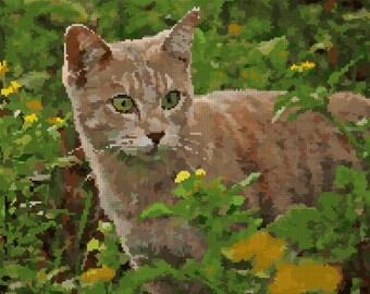 Cat on the prowl Cross Stitch Chart