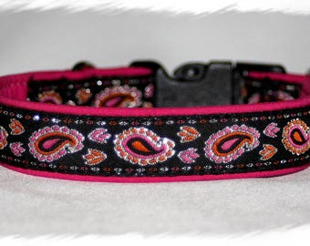 """Dog Collar +Special price+ Jacquard Ribbon """"Cosmic pink"""" Design for Pet accessories fashion"""