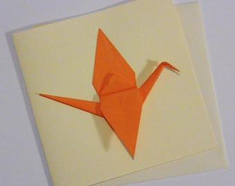 Greeting card double 15cm - Origami Japanese paper - orange crane - best wishes