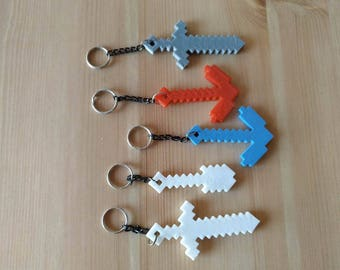 Minecraft inspired Keychain - 3D printed pickaxe Shovel axe sword mine craft