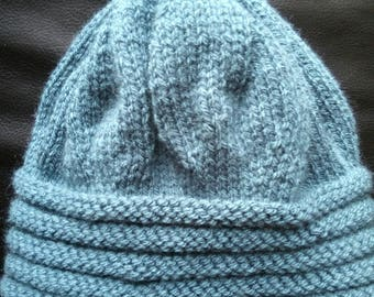 Hand knitted blue woman Hat