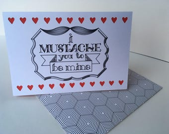 Handmade I Mustache You To Be Mine Love/ Marriage/  Anniversary Card