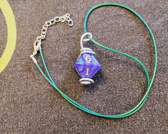 Wire-wrapped D8 Necklace
