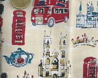 Fabric London: Monuments, Taxis, cabins, crowns etc (coupon 55 x 50 cm) 100% cotton