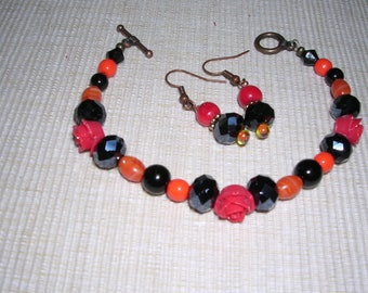Orange/Black Bracelet with Earrings