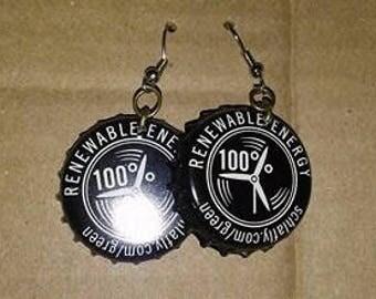 Renewable Energy Bottlecap Earrings