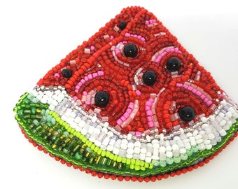 "Brooch from beads ""Juicy watermelon"""