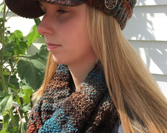 Hand knit cap and infinity scarf