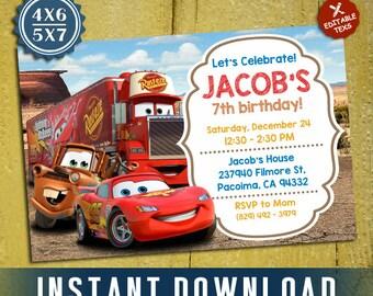 Disney Cars Invitation, Disney Cars Birthday, Lightning McQueen Invitation, Editable Invitation, Editable PDF Template, Instant Download