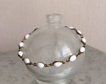 JULY - White enameled Beads Bracelet
