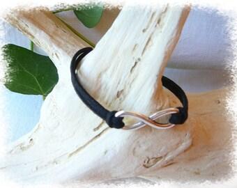 Infinity bracelet with black suedine cord