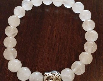 Rose Quartz Wrist Mala Bracelet with Silver Buddha Guru Bead 21 natural gemstone beads Meditation Yoga