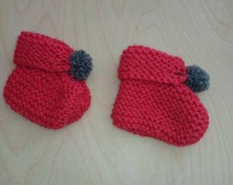 Red 0/3 month baby booties