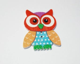 1 large OWL pattern wooden button / OWL