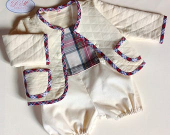 Coordinated set of ecru and Scottish, romper and fleece jacket