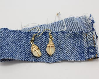 Gold Wire Wrapped Cream Shell Earrings