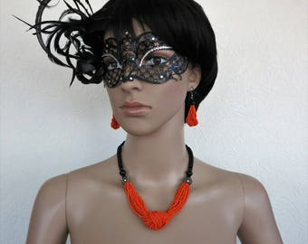 Necklaces and earrings with orange seed beads, Silver 925 hooks