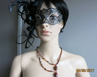 ELIORA - set of beads and tubes of glass, shades of Brown