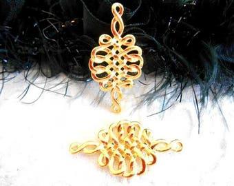 x 2 connectors Celtic knot pendant golden metal 35 mm.