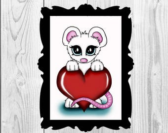 Art print cute Mouse with Heart Digital Download