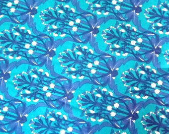 Blue Cotton Floral Print Cotton Fabric Dress Making Quilting Fabric By Yard