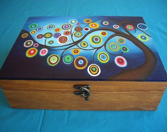 Hand-painted wooden jewelery box with tree of wishes - Wooden jewelery box - Jewelry box - Jewelry storage - Wooden box