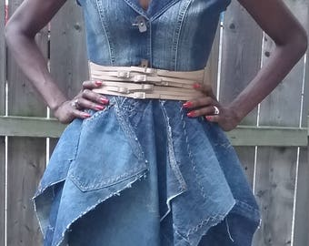 Upcycled chic denim blue jean one-of-a-kind handkerchief dress