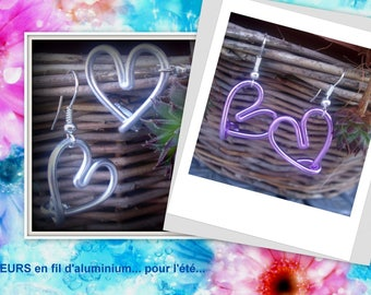 SET of 2 pairs of hearts earrings made of aluminum wire *.