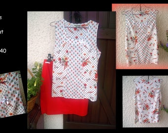 Red skirt and matching floral t-shirt