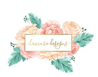 Floral watercolor logo, Pre-made Logo Design, Pre-made Custom Logo, Custom Business Logo, Watercolor Logo |  Watermark logo |, Modern Logo