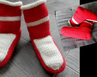 Red and white handmade booties