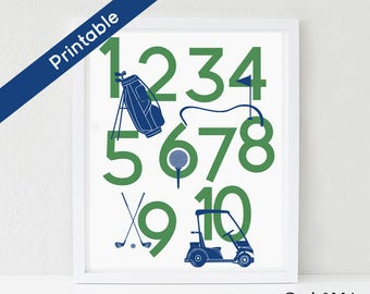 Kids Golf Number Poster, Printable, Golf Nursery Art, 123 Art Print, Golf Bag, Golf Tee, Golf Cart, Golf Clubs, Green and Navy Blue