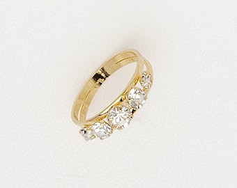 Band Ring,  Shiny Gold Plating Ring, Clear Gemstones - My Jewelry Spot
