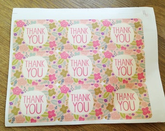 floral set of 27 stickers thank you