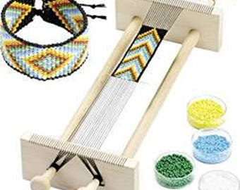 Hand loom made of wood for beads